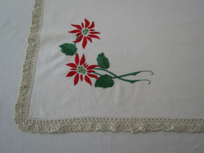Vintage Tablecloth - Christmas Decor - Hand Embroidered Poinsettia Tablecloth