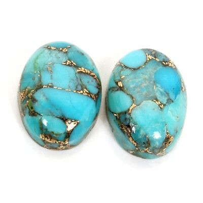 Top Quality 14x10 mm BLUE COPPER TURQUOISE 1 Pair Oval Gemstone 10.5 Cts S-36604