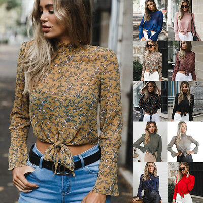 AU Womens Chiffon High Neck OL Blouse Tops Party Long Sleeve Lace up Front Shirt
