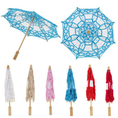 Mini Lace Embroidered Parasol Umbrella Wedding Bridal Flower Girl Photo Prop 12""