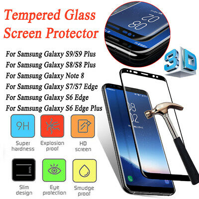 For Samsung Galaxy S9 S8 Plus Note 8 3D Full Cover Tempered Glass Screen Film H1