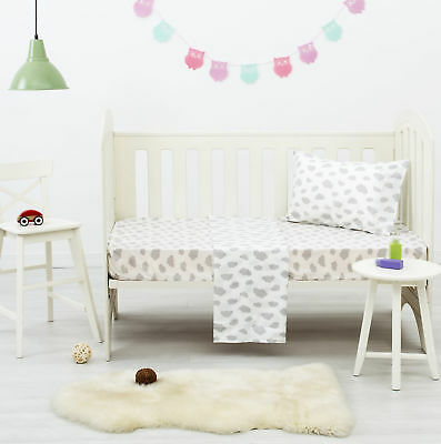 NEW Grey Clouds Dreamaker Baby Poly/Cotton Cloud Printed Cot Sheet Set