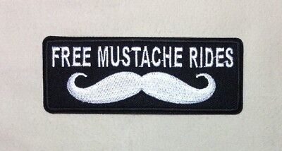 Free Mustache Rides Patch Morale Patch Iron On Huckleberry