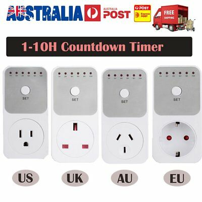 1-10 Hours Countdown Timer Switch Standard Phone Pad Car Charge Count Down EN