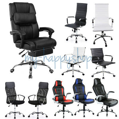Adjustable Office Executive Chair Recliner Racing Gaming Support PU Leather Seat