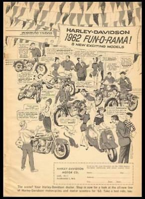 1962 Harley-Davidson Motorcycles *Fun-O-Rama* vintage cartoon AD