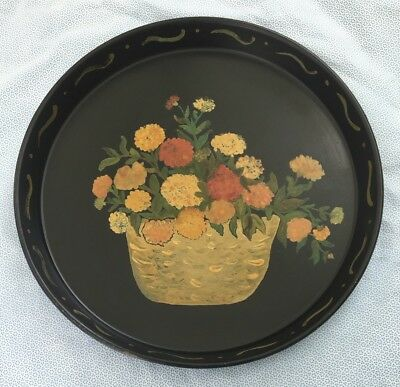 """Vintage Antique Hand Painted Black Metal 12"""" Round Floral Tole Ware Tray"""