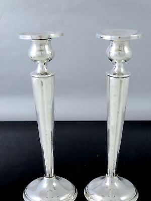 """Pair Antique STERLING SILVER CANDLESTICKS Reinforced w/Cement 8"""""""