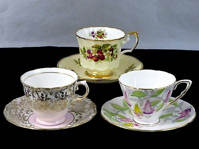 Mixed Lot Vintage 3 CUP & SAUCER SETS Fuchsia Strawberry