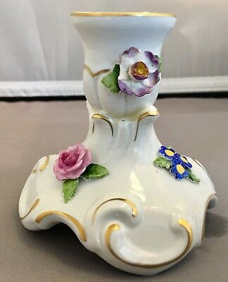 2 RARE Antique Vtg Von Schierholz Porcelain Candle Holders Applied Flowers VGC