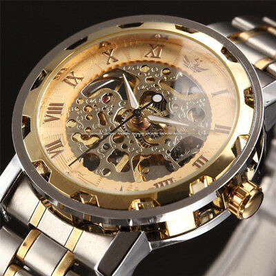 Men Classic Transparent Steampunk Skeleton Mechanical Stainless Steel Watch HDS