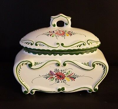 European Style Ceramic Hand Painted Storage Bread Box white green floral