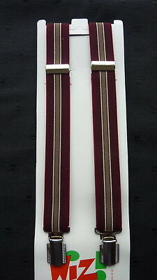 BRACES for BOYS/GIRLS/CHILDREN... WINE/BURGUNDY STRIPES.. FIT approx: 6-12 years