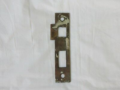 "Antique Solid Brass Mortise door bolt lock latch strike plate 5 3/4"" old patina"
