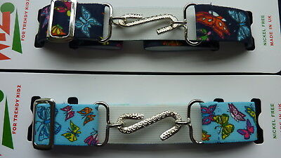 SNAKE BELTS  FOR GIRLS/CHILDREN - NAVY BLUE or SKY BLUE  BUTTERFLIES-STRETCHY