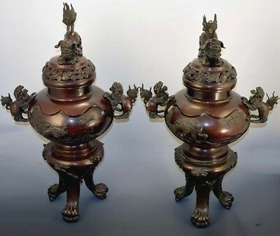 Fabulous Pair of Antique Asian Bronze Covered Censers/Vases/Urns-Great Patina!