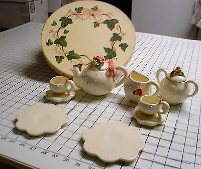 childs tea set maybe hand made never used in beautiful box