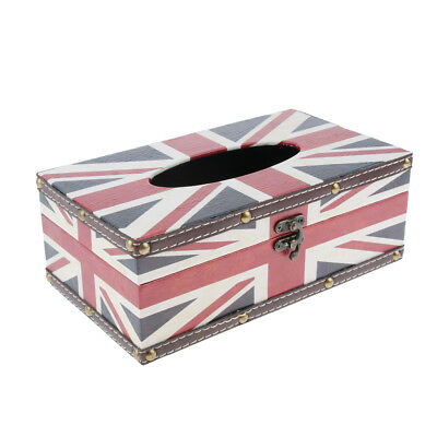 Exquisite Retro Style Tissue Box Cover, Napkin Holder Dispenser, Solid, Flag