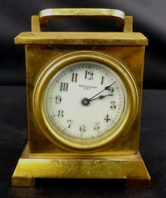 ** Heavy Brass New Haven Enameled Dial Desk Clock **