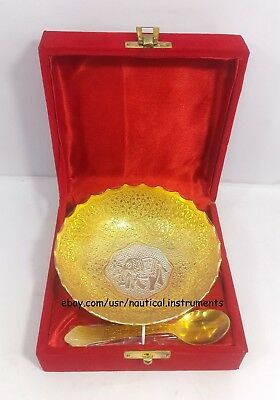 Silver & Gold Plated Brass Engraved Designer Bowl Set Christmas Gift GS1BSE