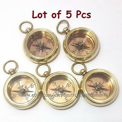 Lot Of 5 Pcs  Brass Nautical Style Copper Dial Shiny Pocket Key Chain Compass