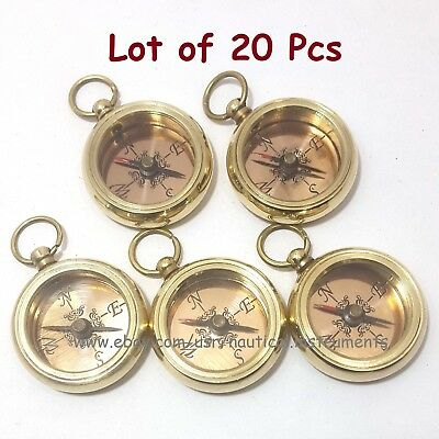 Brass Nautical Style Copper Dial Shiny Pocket Keychain Compass (Lot Of 20 Pcs)