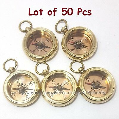 Brass Nautical Style Copper Dial Shiny Pocket Key Chain Compass (Lot Of 50 Pcs)