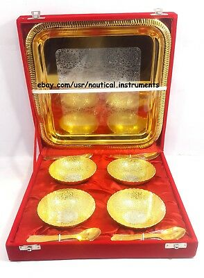 Silver & Gold Plated Brass Engraved Designer Bowl Set Christmas Gift GS4BSSTB