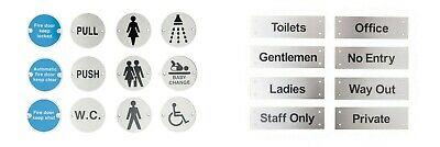 Stainless steel  DISC SIGN Toilet Door WC Sign Mens Ladies  Disabled Fire Metal