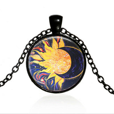 Vintage Sun and Moon Art Cabochon Black Glass Chain Pendant Necklace