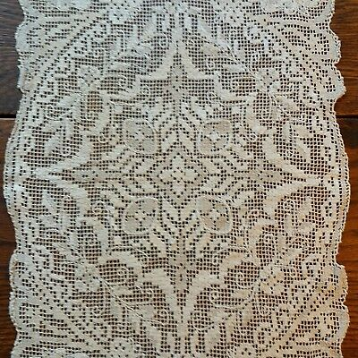 Vintage Handmade Filet Lace Embroidered Netting Table Runner 13x48 Ivory