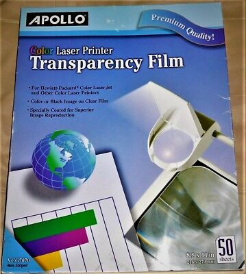 100  Apollo® Color Laser Transparency Film Letter Size Clear New Sealed Free Shi