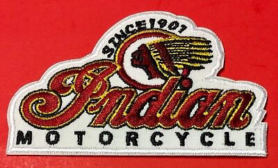 """INDIAN MOTORCYCLE EMBROIDERED """"LOGO"""" PATCH 4"""" x 2 1/2"""" IRON/SEW"""