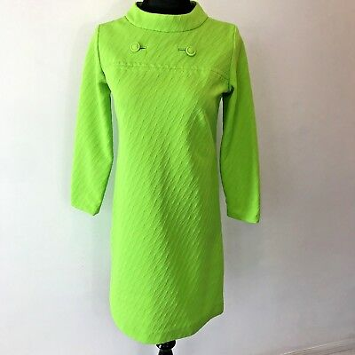 Vintage 1960s Lime Green Mod Shift Dress size S Button Accent Textured OOAK DS13