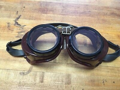 Vintage Steampunk Safety Goggles Glasses Bakelite H M W Motorcycle goggles