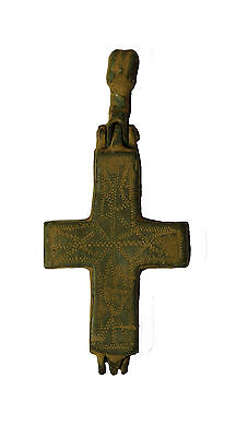 P48:  CHOICE BYZANTINE BRONZE Enkolpion. CRUCIFIX CROSS PENDANT