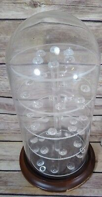 Thimble Display Glass Dome Display with Wood Base Holds 42 Thimbles