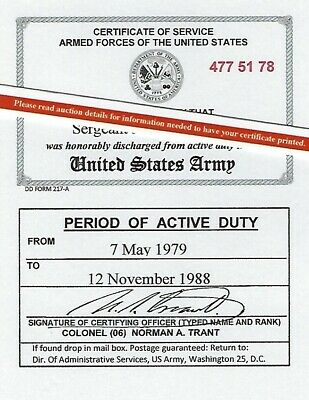 US Army Armed Forces Honorable Discharge Laminated Card 2 1/8 X 3 3/8