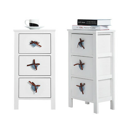 2 x White Bedside Tables Nightstand with 3 Drawers Cabinet Retro Knob Pair NEW