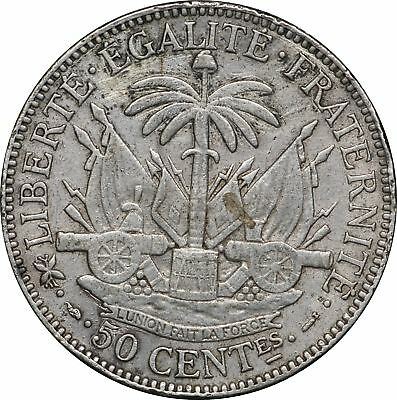 1895 Haiti Silver 50 Centimes, KM# 47, Nice XF 50C Extremely Fine