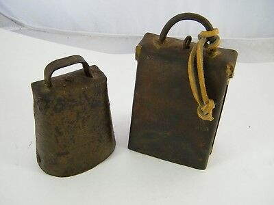 """2 Vintage Forged Iron Cowbells ~ 6"""" / 4 1/4"""" Tall With Clappers"""
