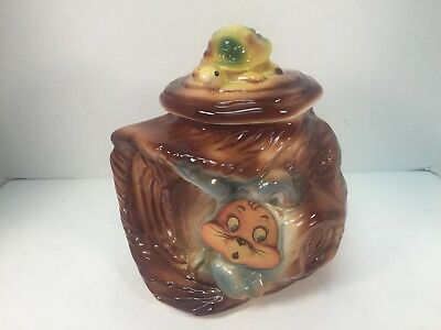 Vintage American Bisque Cookie Jar Flasher Tortoise and the Hare 803 USA #1