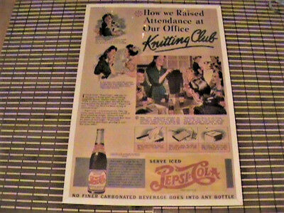 """Pepsi Ad 1940-43 """"How We Raised Attendance At Our Office Knitting Club"""" Vintage"""