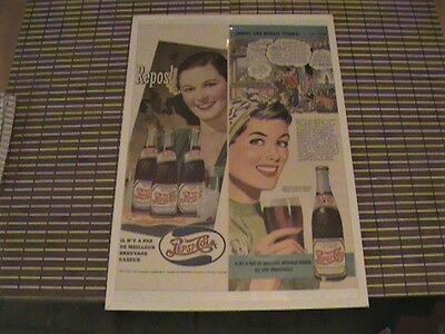 """Pepsi 1940-1943 TWO Old Colour Print Ads """"Repos"""" And """"Jamais une minute d'ennui"""""""