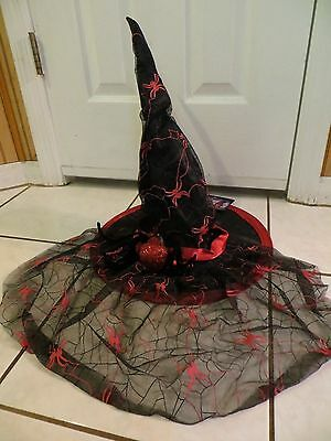 """18"""" Tall Glamour Deluxe Spiders Witch Hat w/Veil Halloween Costume Red Black NWT"""