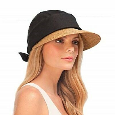 32884ac7a0b4a New ERIC JAVITS Squishee Convertible Sun Hat Removable Brim Linen Natural  Black
