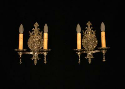 Pair Antique 1920'S Solid Bronze Spanish Galleon Tudor Revival Wall Sconces