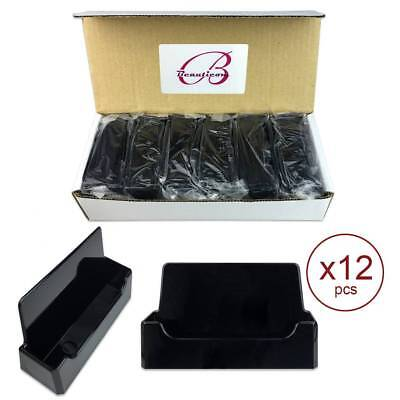 12pcs Black Acrylic Compartment Desktop Business Card Holder Display Stand