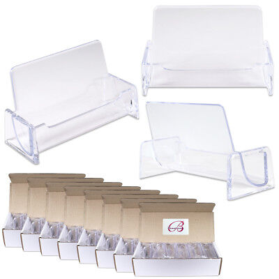 100pcs Clear Acrylic Compartment Desktop Business Card Holder Display Stand