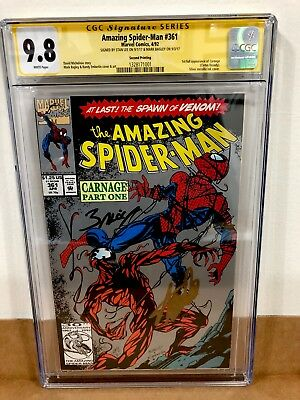 The Amazing Spider-Man 361 2nd Print CGC9.8Signed By Stan Lee $ Mark Bagley